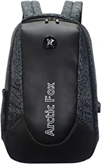 Arctic Fox New Anti-Theft Alarm Zipper System Backpack with USB Charging Port 15 Inch Laptop Backpack (Glitch Black)