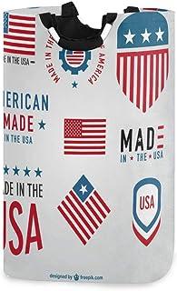 USA Labels Collection Grand bac de rangement pour la maison, sacs de rangement, panier à linge, panier à linge pliable Gra...