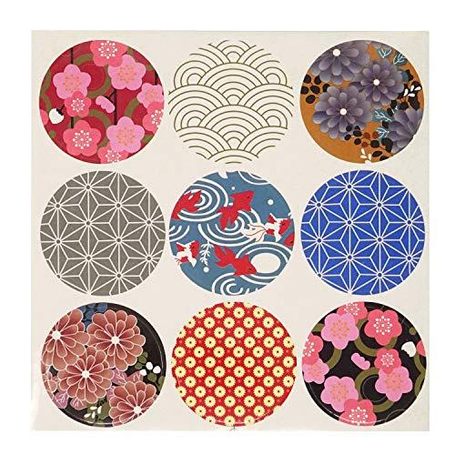 Honbay 20 Sheets 180pcs Round Shape Japan Style Traditional Pattern Decorative Sticker Self-Adhesive Universal Seal Label Sticker