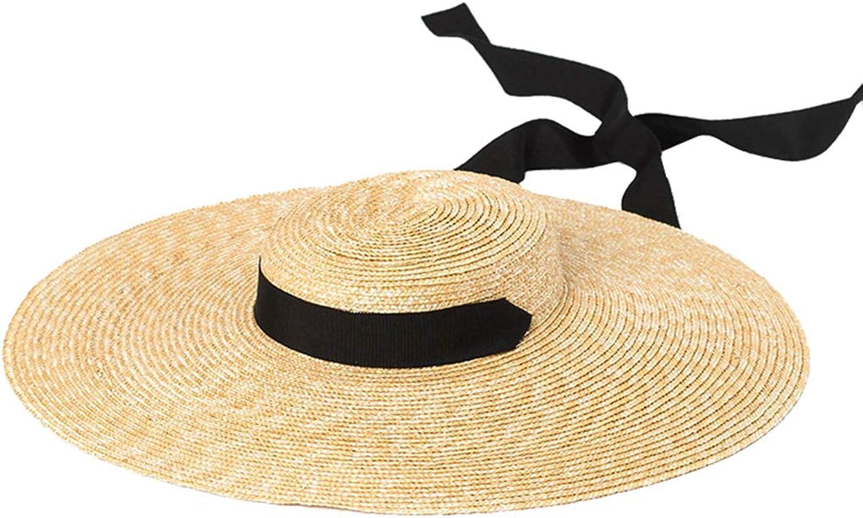 Nafanio Women Straw Hat Large Brim Big Straps Catwalk Shallow Top Sun Hat Fascinators Beach Cap