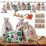 Ulikey Set di 24 Calendario dell Avvento Natale da Riempire, Avvento Calendario Avvento, Sacchetti di Tessuto Calendario dell'avvento, Sacchetti Juta, Sacchetto Regalo di Natal con 24 Adesivi