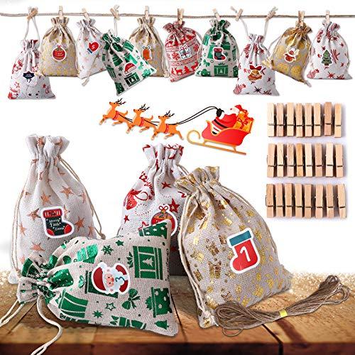 Ulikey Adventskalender zum Befüllen, 24 Jutesäckchen Adventskalender zum Selber Befüllen mit Adventskalender Zahlen, Jutesack Weihnachten Geschenksäckchen, Säckchen für Adventskalender (Farbe 1)