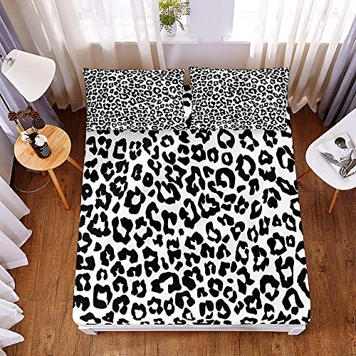 Bedding Fitted Sheets with 2 Pillowcases, Morbuy Camouflage Leopard 3D Printed Bedding Microfiber Soft Fade Resistant Bed Sheets for Single Double King Size Bedsheet Deep 30cm (150 * 200 * 30cm,C)