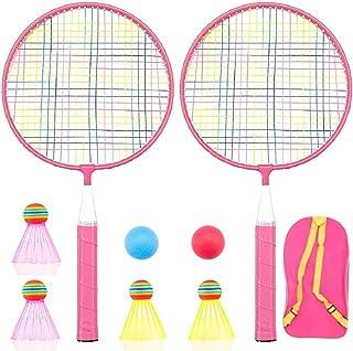 Badminton Racket for Children 1 Pair, Nylon Alloy Durable Badminton Racquet Set for Kids Indoor/Outdoor Sport Game(Including 4 Badminton and 2 Table Tennis)