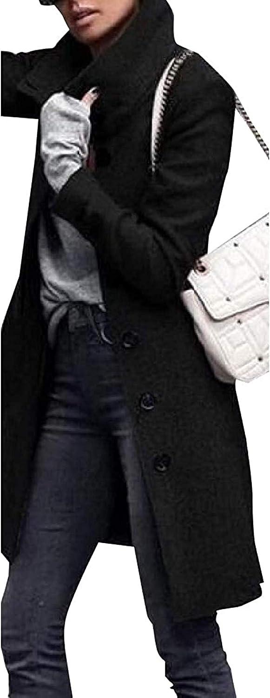 Women Woolen Jacket Coats Single Breasted Mid Length Pea Coat Fashion Cloak Trench Jacket