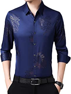 Mens Business Casual Cotton Long Sleeves Solid Button Down Dress Shirt