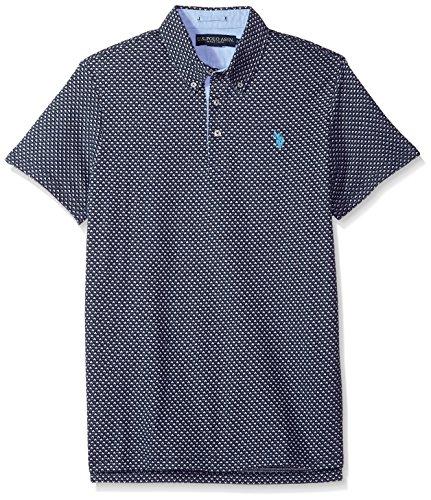 U.S. Polo Assn. Men's Short Sleeve Slim Fit Fancy Jersey Polo Shirt, Classic Navy Khlb, S