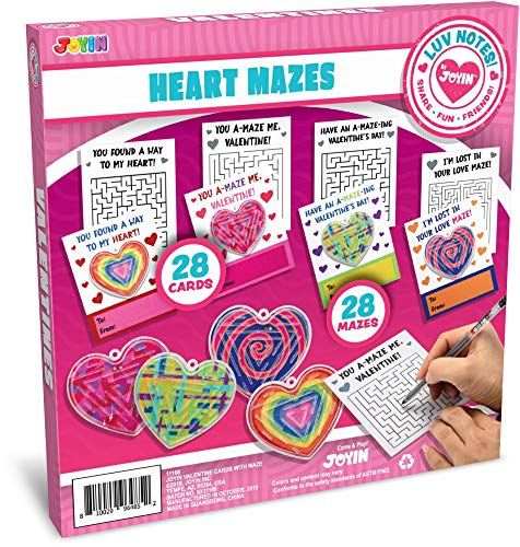 Best Price JOYIN 28 Pack Valentines Day Gift Cards with Gift Heart Maze Toys for Classroom Exchange ...