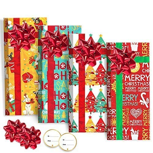 8Pack Christmas Card Holders Boxes with Bow, Holographic Holiday Design Candy Box for Xmas Party Favor