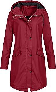 Tigivemen Solid Waterproof Jacket for Women Outdoor Plus Size Hooded Windproof Raincoat Winter Windbreaker Overcoat