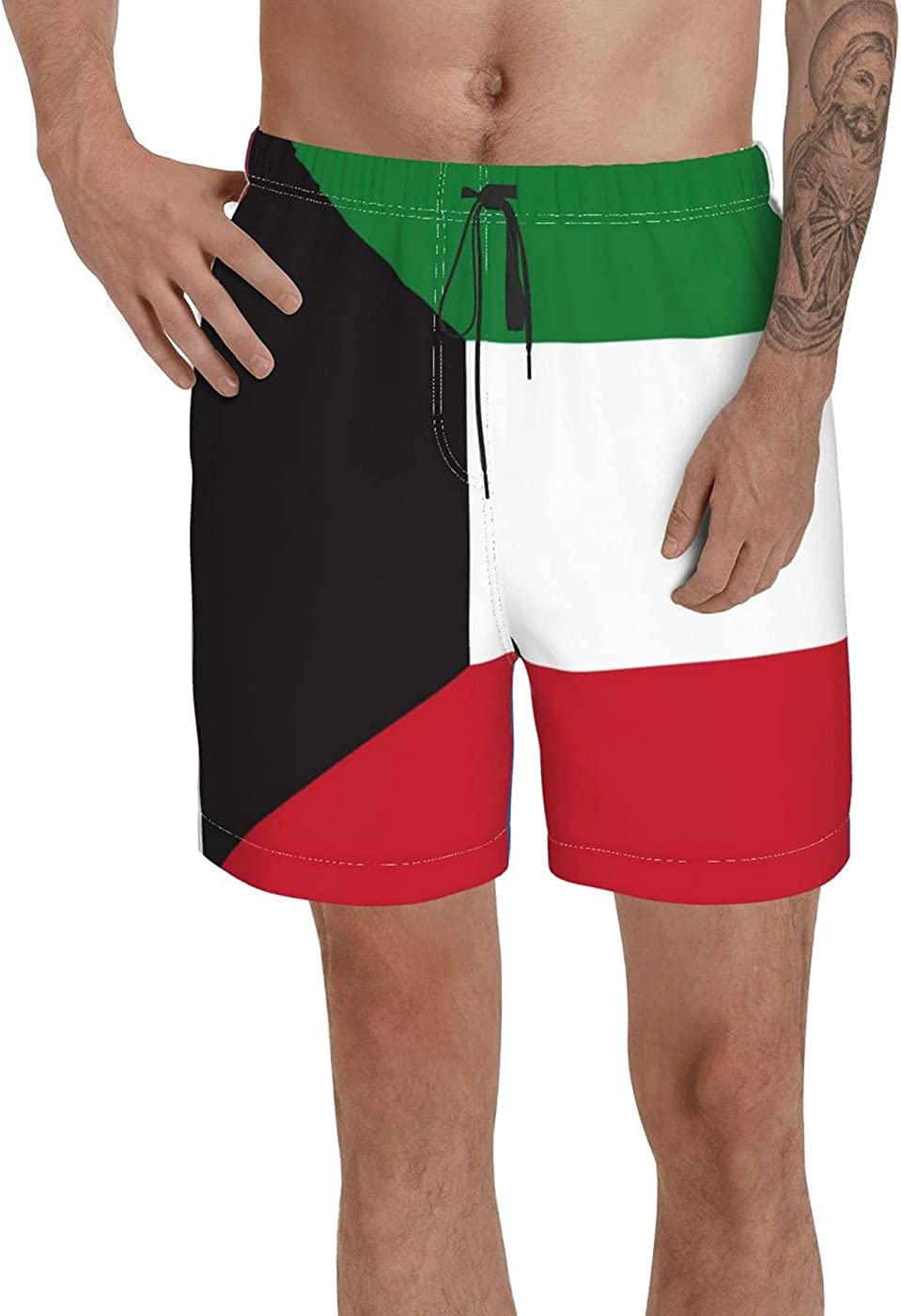Count Kuwait Flag Men's 3D Printed Funny Summer Quick Dry Swim Short Board Shorts with