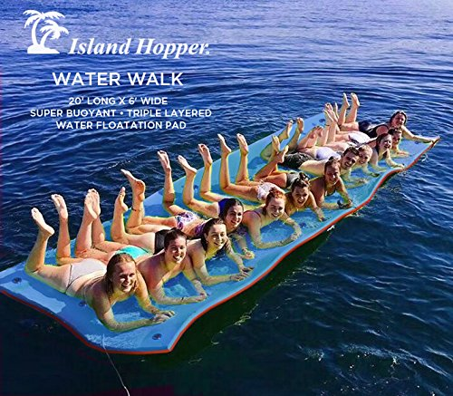 Island Hopper 20 Foot Water Walk Floating Foam Water Mat - Super Buoyant - Triple Layered - Mesh Reinforced