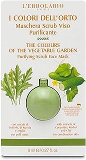 L'Erbolario Maschera Scrub Viso Purificante I Colori dell'Orto Per pelli miste, con estratti di Cetriolo, di Rucola e Argilla 8 ml
