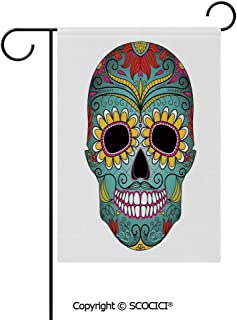 SCOCICI Double Sided Washable Customized Unique 12×18(in) Garden Flag Folk Art Elements Featured Skull Day of The Dead Celebration Concept Decorative,Multicolor,Flag Pole NOT Included