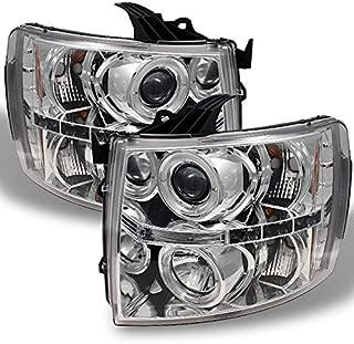 For 2007-2013 14 Silverado 1500/ 2500HD/ 3500HD Pickup Chrome Clear [Dual Halo Rin]g LED Projector Headlights LH+RH Pair