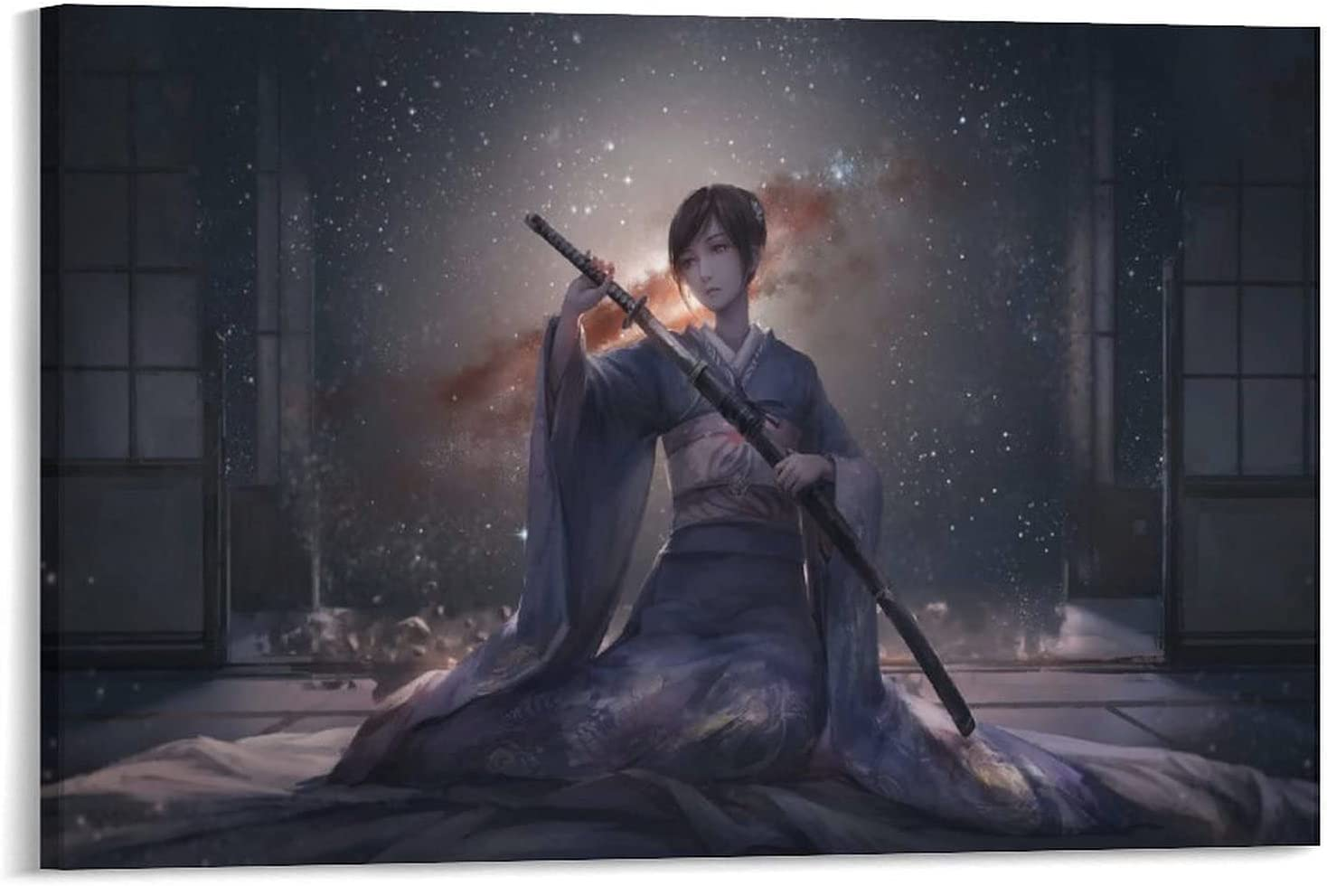 LANSHANG Japanese Samurai Girl Price reduction Room Super sale period limited Aesthetic Poster 3 Canvas