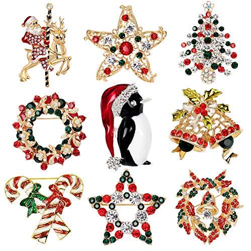 Petalum Weihnachtsdeko Brosche Weihnachtsbrosche Anstecknadel Pins Kristall Strass Legierung Broschen Schneemann Damen Kinder Schneeflocken Rentier Pullover Hemd Zubehör Geschenk (One size, 9cs)