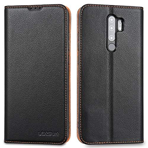 LENSUN Echtleder Hülle für Xiaomi Redmi Note 8 Pro, Leder Handyhülle Magnetverschluss Kartenfach Handytasche kompatibel mit Xiaomi Redmi Note 8 Pro – Schwarz(MN8P-DC-BK)