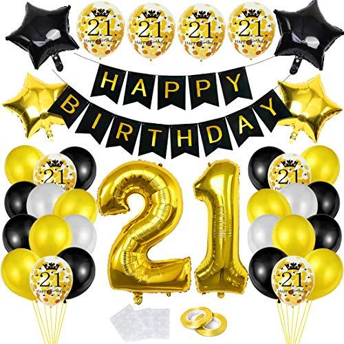 Luftballon 21. Geburtstag Deko Schwarz Gold,21 Geburtstags Dekoration, Happy Birthday Folienballon, Deko 21 Geburtstag Mädchen, Riesen Folienballon Zahl 21, Ballon 21 Deko zum Mädchen Geburtstag
