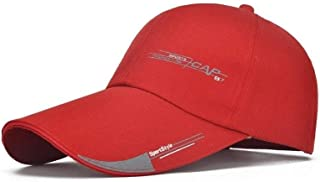 WYMAI Hat Men's Cap Long Hat 檐 Outdoor Sports Visor Male Korean Version of The Sun Protection Casual Baseball Cap Summer Simple and Practical Product (Color : Red)