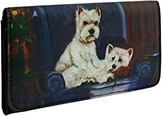 Animal World - West Highland Terriers on a Chair Checkbook Wallet Black