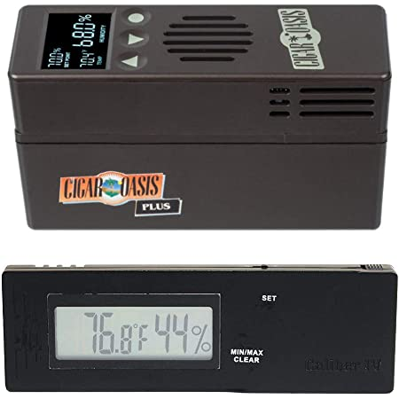 Cigar Oasis Plus 3.0 Electronic Cigar Humidifier with Digital Caliber Hygrometer Bundle