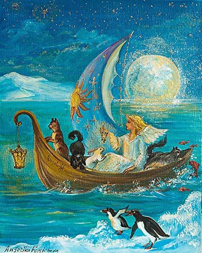 AQjept DIY Pintar por nmeros ngel Hada Pintar por nmero, Pintura al leo de Bricolaje para Adultos, nios, Principiantes