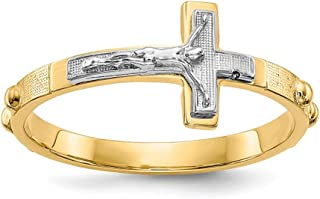 14k Two Tone Yellow Gold Crucifix Cross Religious Rosary Band Ring Size 7.00 Fine Jewelry Gifts For Women For Her