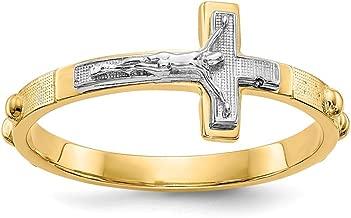 Mia Diamonds 14k Gold Two-Tone Gold Crucifix Rosary Ring