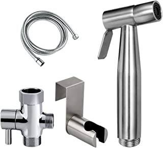 Baitaihem Stainless Toilet Bidet Sprayer Steel Handheld Shower Sprayer for Bathroom Self Cleaning (Set A)