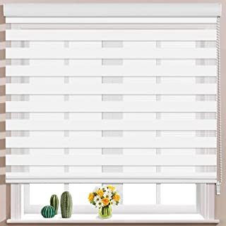 Keego Window Blinds Custom Cut to Size, White Zebra Blinds with Dual Layer Roller Shades, [Size W 36.5 x H 60] Dual Layer Sheer or Privacy Light Control for Day and Night