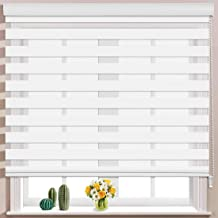 Keego Window Blinds Custom Cut to Size, White Zebra Blinds with Dual Layer Roller Shades, [Size W 28 x H 48] Dual Layer Sheer or Privacy Light Control for Day and Night