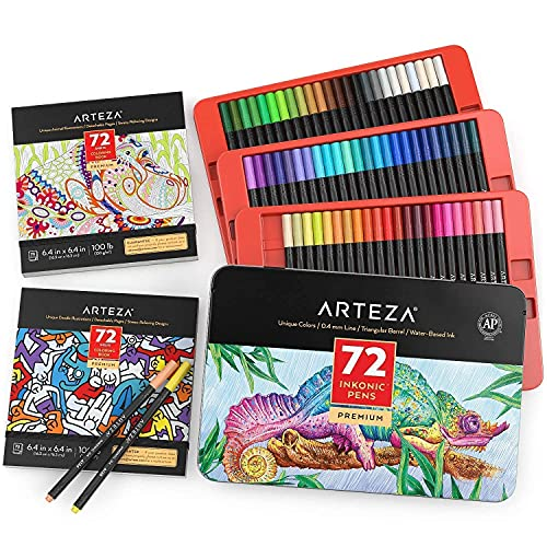 Arteza Coloring Book Bundle, 2-Pack of Coloring Books with 72 Inkonic Fineliner Pens, for Relaxation and Stress-Relief, Drawing Art Supplies for Artist, Hobby Painters & Beginners