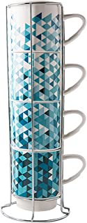 Porcelain Mugs Set - 13 Ounce Stack-able Cups Set with Chrome Rack Holder for Coffee, Tea, Cocoa