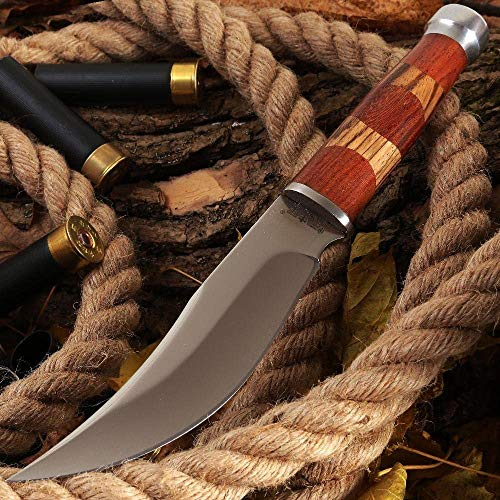 Fixed Blade Knife - Clip-Point Fishing Bushcraft Hunting Knives with Sheath - Best 420 Stainless Steel Classic Fix Blade Hunting Knife with Wood Handle & Glass Breaker - Best Gift for MenFB 623