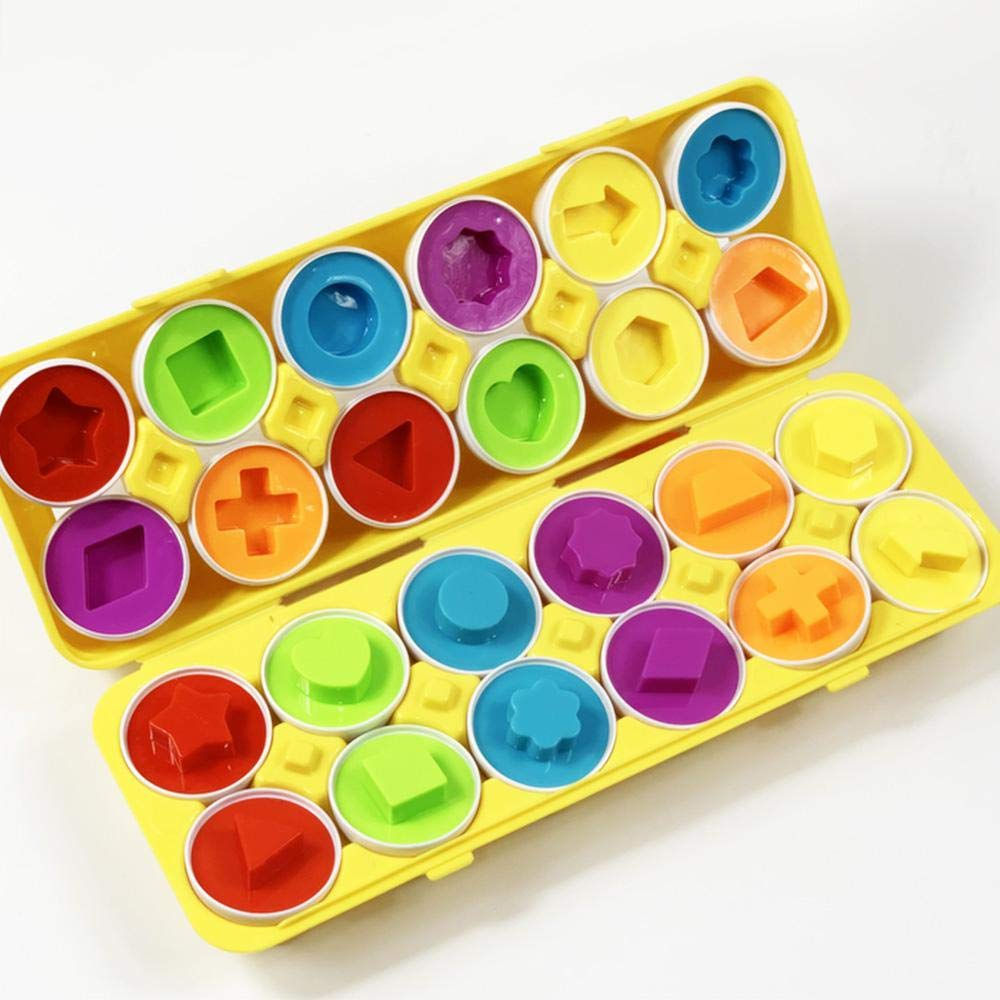 Matching Egg Set, 12PCS Color&Shape Matching Egg Set Montessori Toys For Toddlers 3D Egg Puzzle Sorter Toy Smart Egg Toys For Baby 18 Months And Up