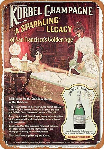 mefoll 8 x 12 Metallschild – Korbel Champagner – Retro-Wanddekoration, lustiges Blechschild, Bar Decor