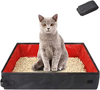 Collapsible Cat Litter Box for Travel, Portable Kitten Toilet Tray Carrier