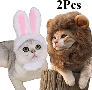 2 Pack Lion Mane Wig Costume for Cat Costume Bunny Rabbit Hat Headwear with Ears Cosplay Dress up Halloween Party Costume Accessories for Cats & Small Dogs