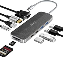 TSUPY USB C HUB,Type C Adapter HUB to 4K HDMI,1080P VGA, 1Gbps Ethernet,PD 3.0 Charging,SD/TF Card Reader,4 USB 3.0/2.0 Ports for New MacBook Pro,Surface Go, Samsung and More Type C Devices