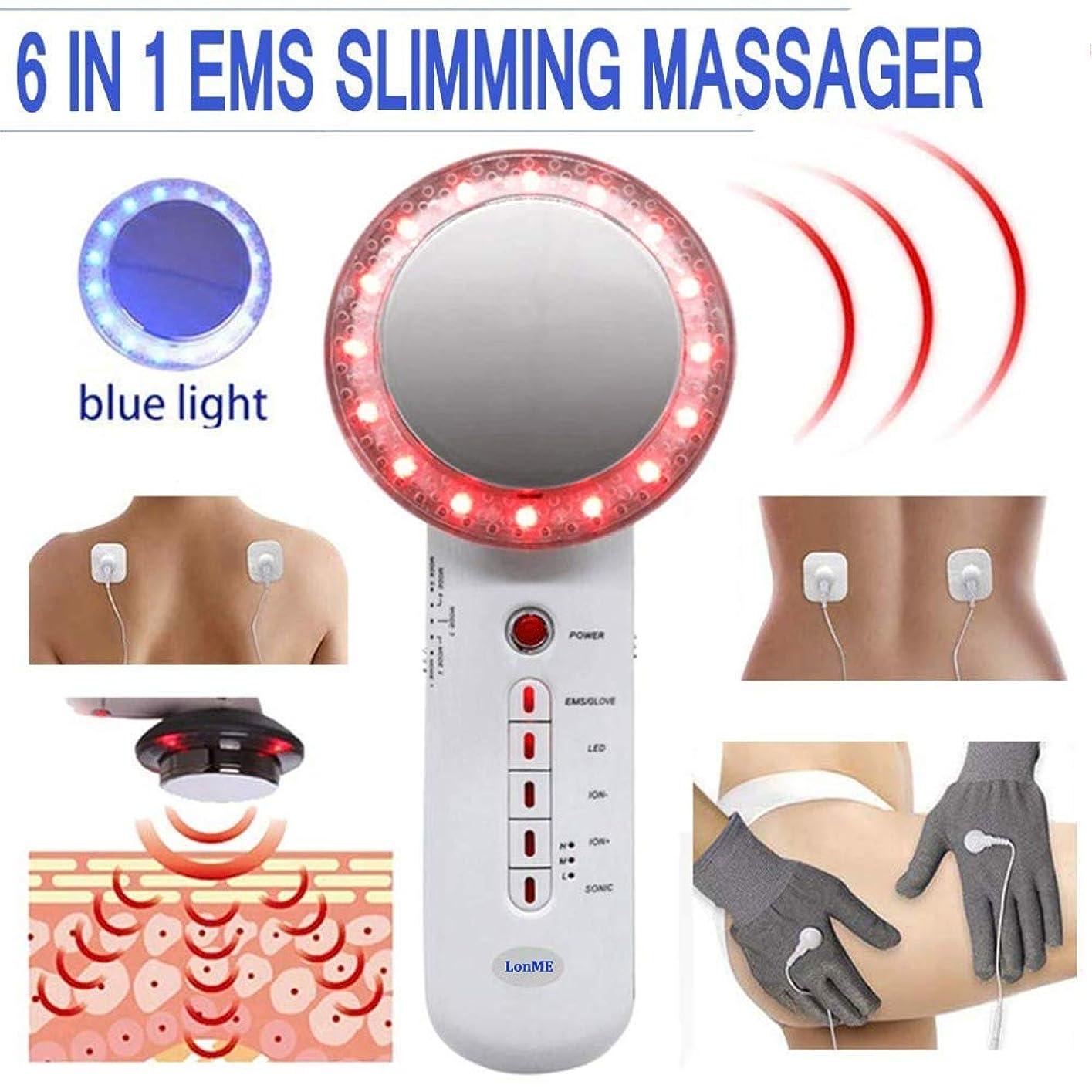 語ビデオブート減量のための1つの脂肪質の除去剤機械EMS細くのマッサージャーに付き6腕の足の胃のマッサージャーのための青くおよび赤い軽い皮装置