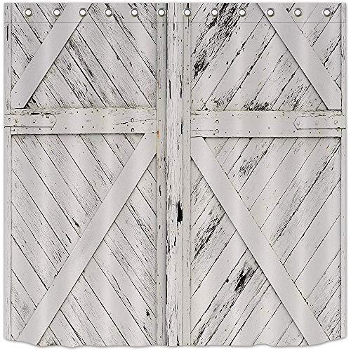 Wild One Curtain Rustikaler Duschvorhang, 3D-Druck, Landhaus-Stil, Holzoptik, wasserdicht, Polyester, 122 x 183 cm (B x H)