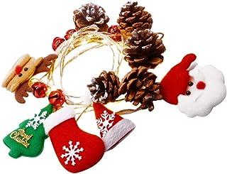 KESYOO Christmas String Lights Pinecorn Jingle Bells Santa Xmas Tree Reindeer Glove LED Fairy Xmas String Lights Christmas...
