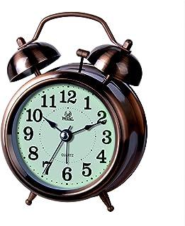 置時計 目覚まし時計 掛け時計 針時計 バックライト 強力アラーム 連続秒針 Lancardo 音量ベル 電池式 アナログ式 光る 単三 卓上 おしゃれ メンズ&レディース 誕生日 (グリーン)