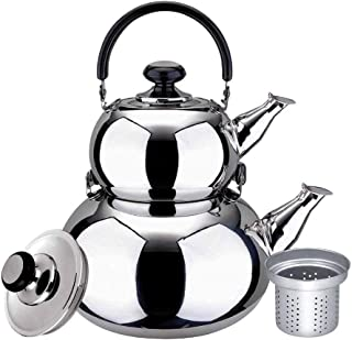 Turkish Double Tea Kettle Pot - Samovar Style Water Boiler with Strainer 1 Liter 3 Pots Stainless Steel