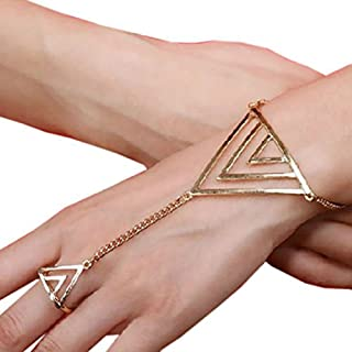 Femmes Punk Bohème Rétro Perle Bracelet Gourmette avec Bague Lien Chaîne à main bijoux