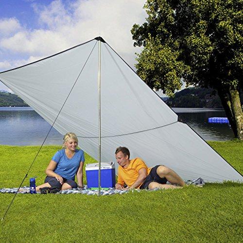 BERGER Tarp grau, UV-Schutz 50+, in verschiedenen Größen, Sonnenschutz für Garten Terasse Camping und Strand (2 x 3 m)