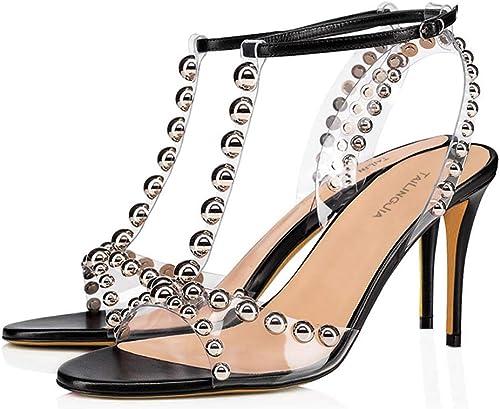 LFF.FF Sandales pour Femmes, Talons Hauts Hauts pour Femmes - Mode - Métal - Rivets - Bout Ouvert boutonné - Sandales Stiletto - Talons très Hauts (8cm ou Plus),40  magasins d'usine
