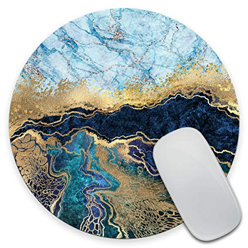 Amcove Blue Marble Round Mousepad, Office Decor, Fake Stone Texture Mouse Pad 7.9 x 7.9 x 0.12 Inch