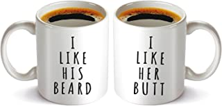 I Like His Beard, I Like Her Butt Couples Funny Coffee Mug set 11oz, Lovers Funny Novelty Present for Wedding Engagement, His and Hers Anniversary gift.